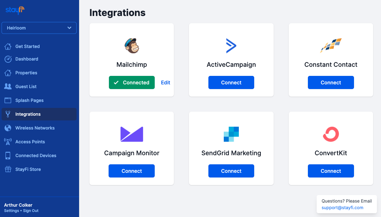 StayFi Email Integrations